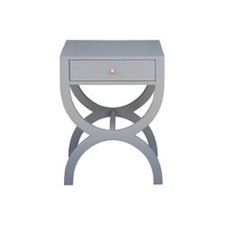 Worlds Away Alexis Side Table - Grey Lacquer