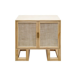 Worlds Away Tucker Cabinet - Cane/Brass Hardware