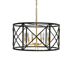 Worlds Away Zia Chandelier - Bamboo/Black Powder Coat/Gold Cluster
