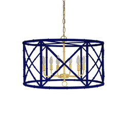 Worlds Away Zia Chandelier - Bamboo/Navy Powder Coat/Gold Cluster
