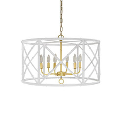 Worlds Away Zia Chandelier - Bamboo/White Powder Coat With Gold
