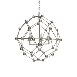 Worlds Away Orbit Chandelier - Silver Leaf