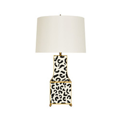 Worlds Away Renata Table Lamp - Black/Leopard/Gold/Cream