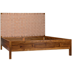 Noir Mansard Bed - Eastern King - Teak and Leather