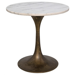 "Noir Laredo 20"" Table - White Stone Top - Aged Brass"