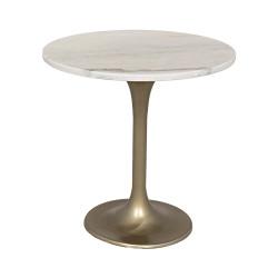 "Noir Laredo Table - 20"" - Antique Brass - Metal and Quartz"