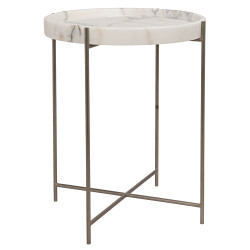 Noir Chico Side Table - Antique Silver - Metal and Stone