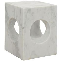 Noir Merlin Side Table - White Stone