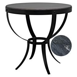 Noir Byron Side Table - Metal with Marble