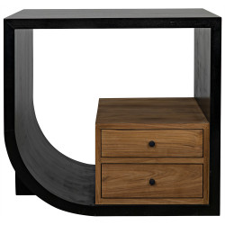 Noir Burton Side Table - Left - Hand Rubbed Black and Teak