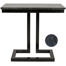 Noir Alonzo Side Table w/Marble