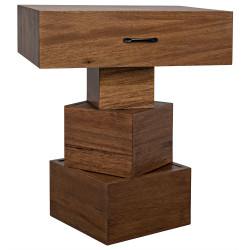 Noir Grobius Side Table - Dark Walnut