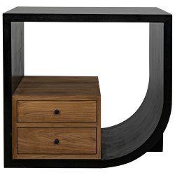 Noir Burton Side Table - Right - Hand Rubbed Black and Teak