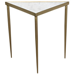 Noir Comet Triangle Side Table - Large - Stone - Metal with Brass Finish