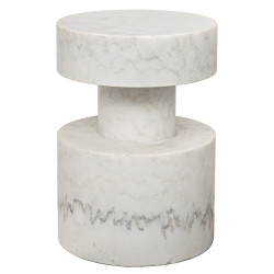 Noir Mamud Side Table - White Stone