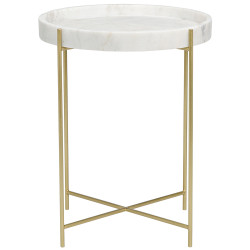 Noir Chico Side Table - Antique Brass - Metal and Stone