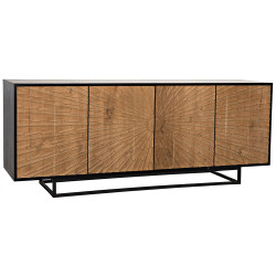 Noir Ra Sideboard - Hand Rubbed Black with Teak