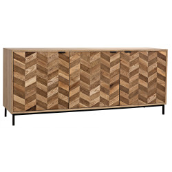 Noir Herringbone Sideboard - Washed Walnut and Metal