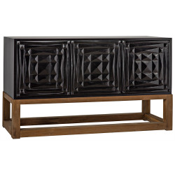 Noir Oliver Sideboard - Hand Rubbed Black with Teak Base