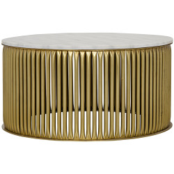 Noir Lenox Coffee Table - Antique Brass - Metal and Stone