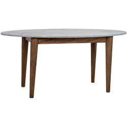Noir Surf Oval Dining Table with Stone Top - Dark Walnut