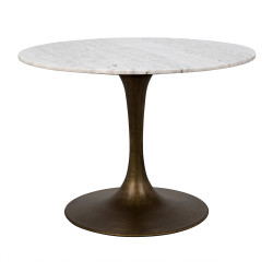"Noir Laredo Table 40"" - Aged Brass - White Stone Top"