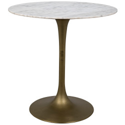 "Noir Laredo Bar Table 40"" - Antique Brass - White Stone Top"