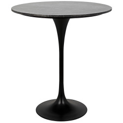 "Noir Laredo Bar Table 36"" - Black Stone Top"