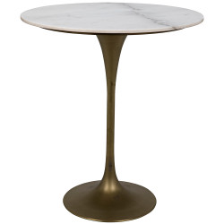 "Noir Laredo Bar Table 36"" - Antique Brass - White Stone Top"