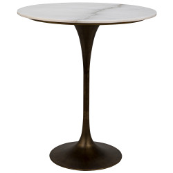 "Noir Laredo Bar Table 36"" - Aged Brass - White Stone Top"
