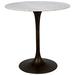 "Noir Laredo Bar Table 40"" - Aged Brass - White Stone Top"