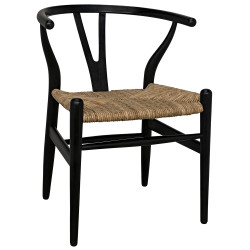 Noir Zola Chair with Rush Seat - Charcoal Black