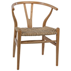 Noir Zola Chair w/Rush Seat - Natural