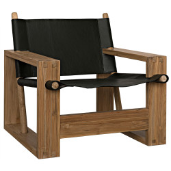 Noir Agamemnon Chair - Teak and Leather