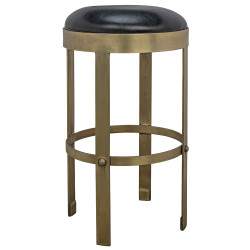 Noir Prince Counter Stool with Leather - Gold