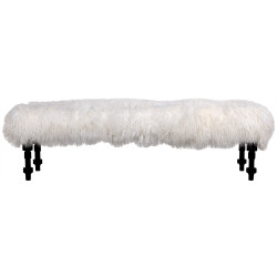 Noir Coco Bench with Lamb Fur - Hand Rubbed Black