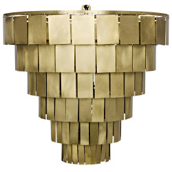 Noir Shield Chandelier - Antique Brass