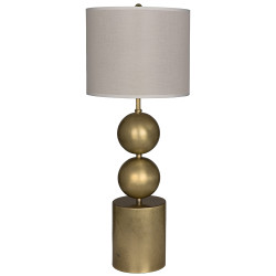 Noir Tulum Table Lamp with Shade - Antique Brass