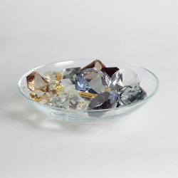 Global Views Clear Bowl w/18 Oxford Jewels - Two of Each Color