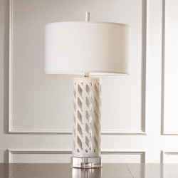 Global Views Diamond Fret Lamp - White