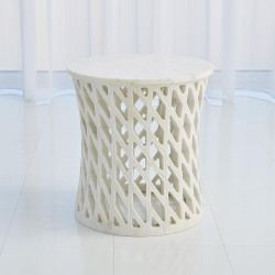 Global Views Diamond Fret Table - Banswara White Marble