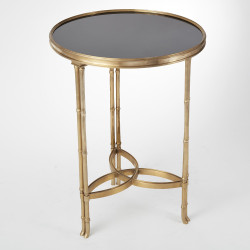 Global Views Double Bamboo Leg Accent Table - Brass/Black Granite