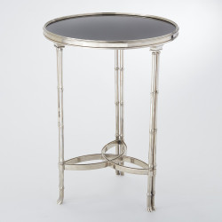 Global Views Double Bamboo Leg Accent Table - Nickel/Black Granite