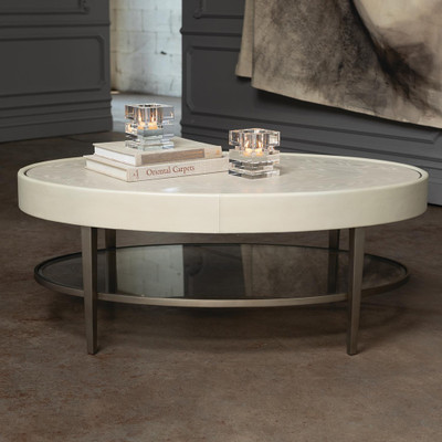 Global Views Ellipse Cocktail Table - Ivory