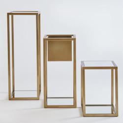 Global Views Escher Pedestal/Planter - Brass - Med