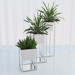 Global Views Escher Pedestal/Planter - Nickel - Med