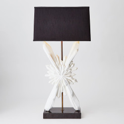 Global Views Facet Starburst Lamp - White w/Black Shade