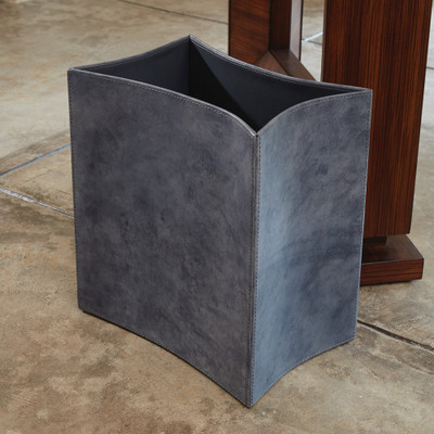 Global Views Folded Leather Wastebasket - Blue Wash