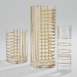 Global Views Glass Grid Carafe w/Cup - Gold