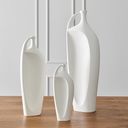 Global Views Indentation Vase - Matte White - Lg